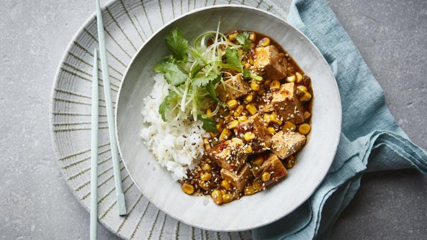 Sweetcorn mapo tofu