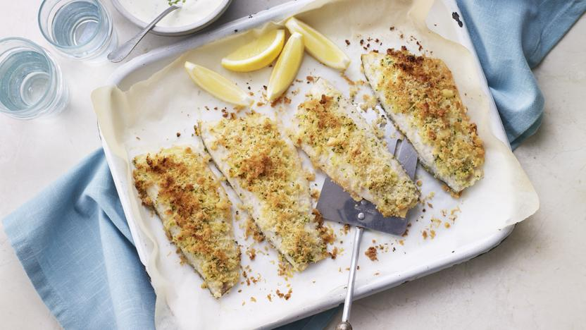 Parmesan crusted sea bass