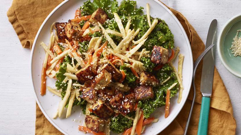 Teriyaki root vegetable salad with crispy tofu