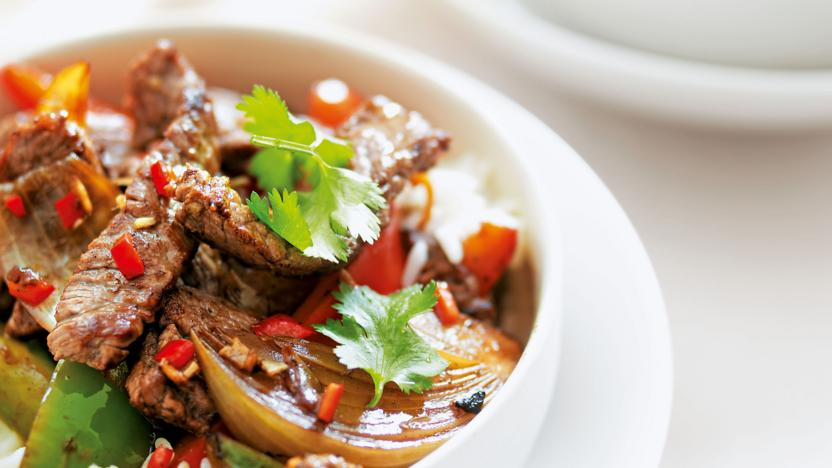 Thai beef and mixed pepper stir-fry