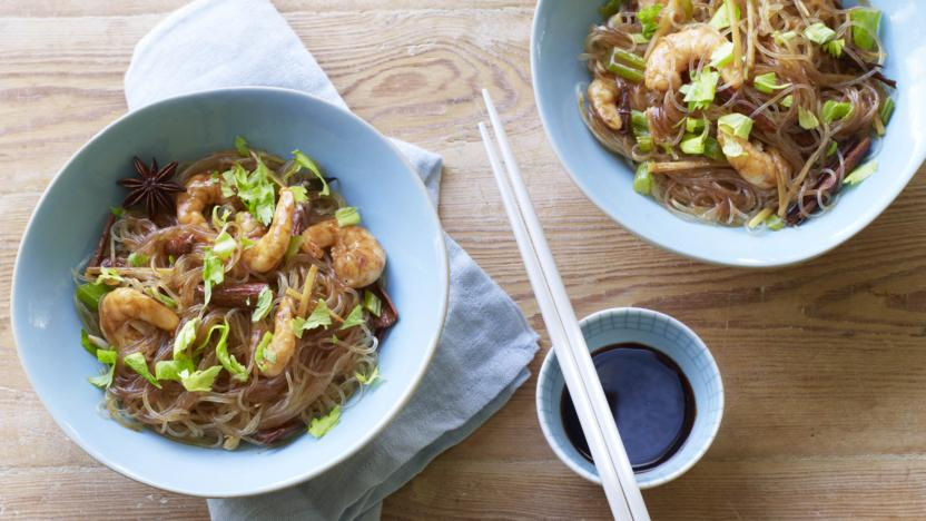 Thai Noodles With Cinnamon And Prawns Recipe Bbc Food