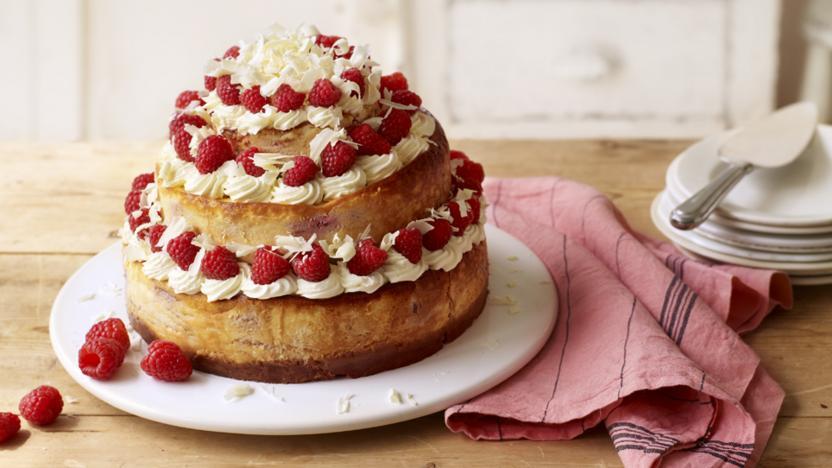 Three Tier White Chocolate And Raspberry Cheesecake