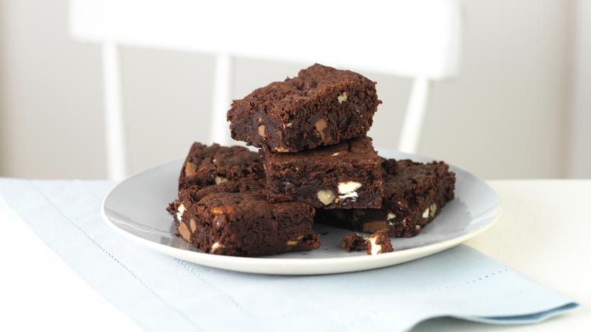 Triple Chocolate Fudge Brownies Recipe Bbc Food