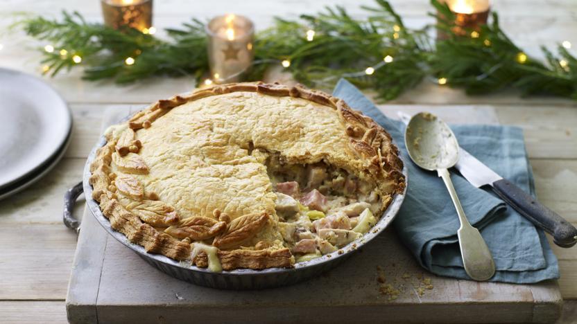 Turkey, ham and stuffing pie