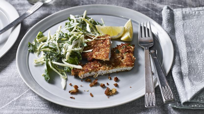 Turkey schnitzel with green slaw
