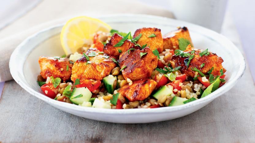 Turkey Skewers And Bulgur Salad Recipe Bbc Food