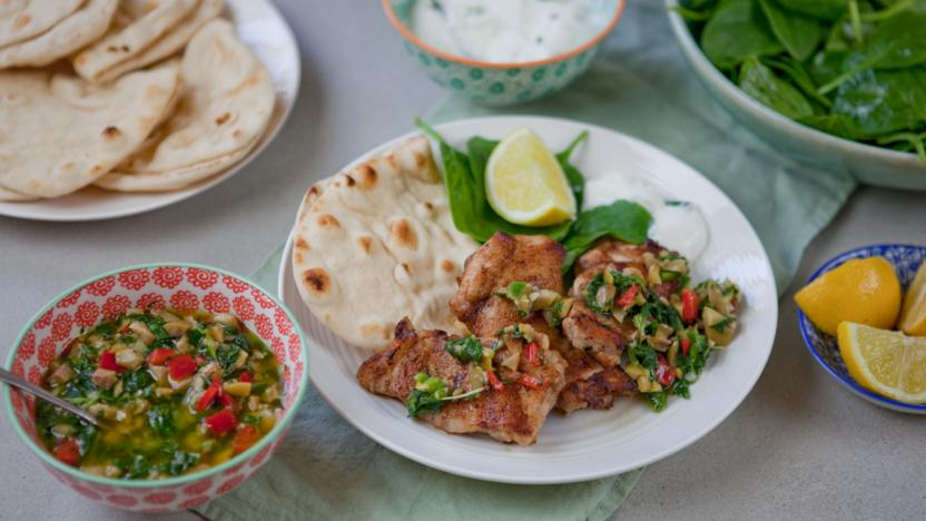 Turkish spiced chicken with flatbreads and green relish
