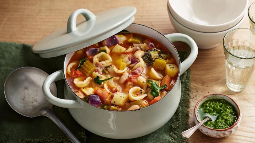 Tuscan bacon and bean soup with wild garlic pesto