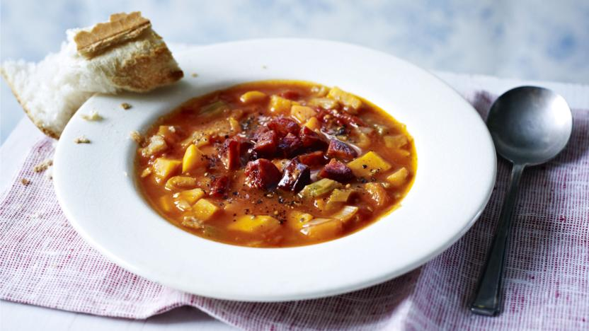 Vegetable and chorizo soup recipe bbc food vegetable and chorizo soup forumfinder Image collections