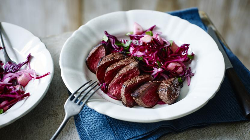 Venison with red cabbage slaw