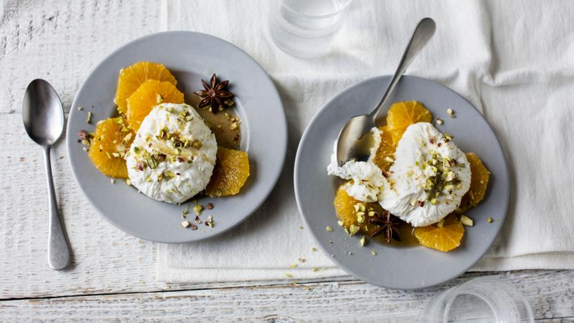Warm, spiced oranges with labneh