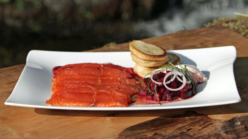 Whisky Cured Salmon With Beetroot And Blinis Recipe Bbc Food