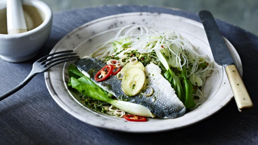 Steamed sea bass with a rice noodle salad