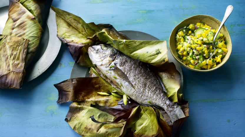 whole fish cooked in a banana leaf with mango chutney recipe bbc food