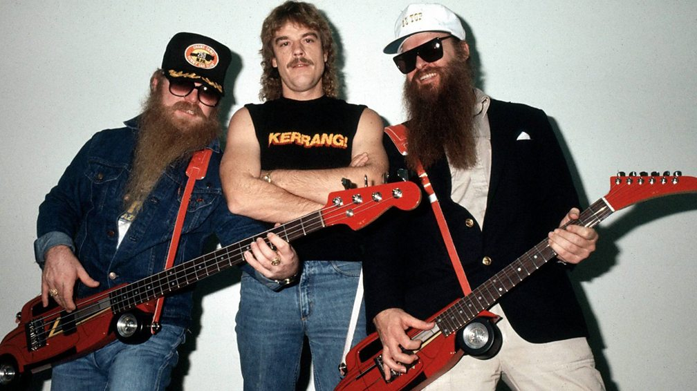 ZZ Top's Dusty Hill (left) and Frank Beard (centre) of the fake Zombies