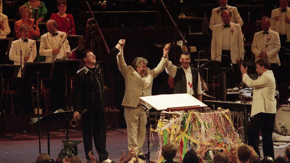 John Harle, Sir Harrison Birtwistle and Paul Clarius at the Last Night, 1995