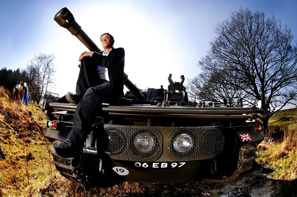 Stephen Morris sitting on his FV433 Abbot SPG, 2009