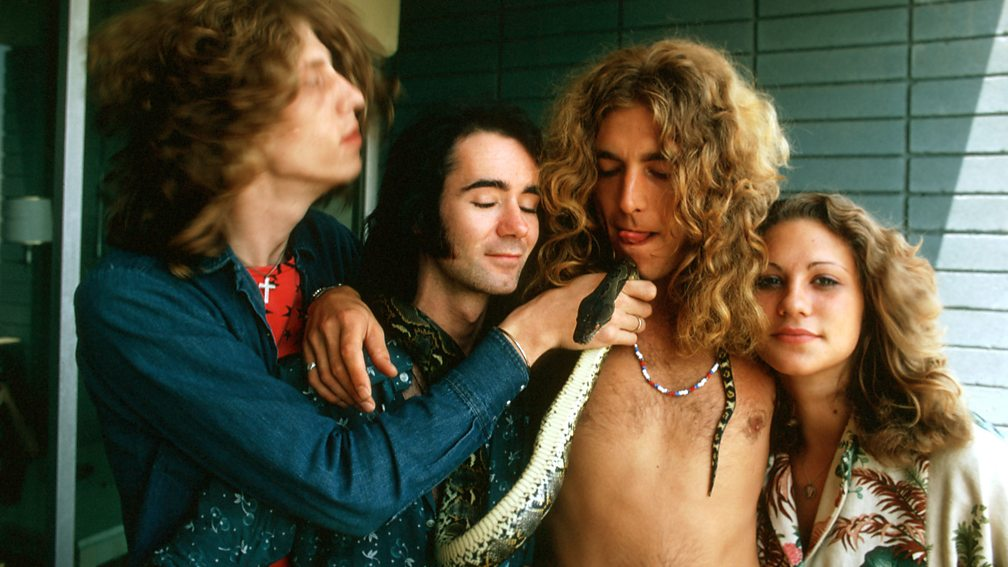 Led Zeppelin's Robert Plant and friends at the Continental Hyatt House, July 1973