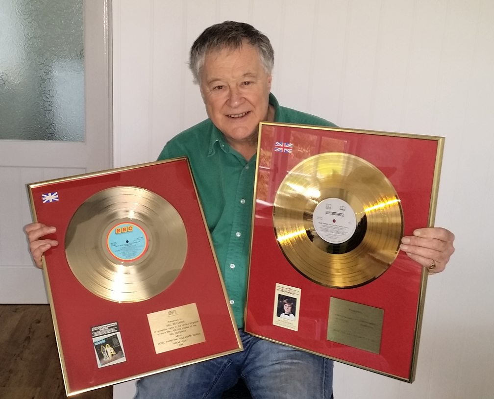 Humphrey Walwyn today, with two BBC Records gold discs