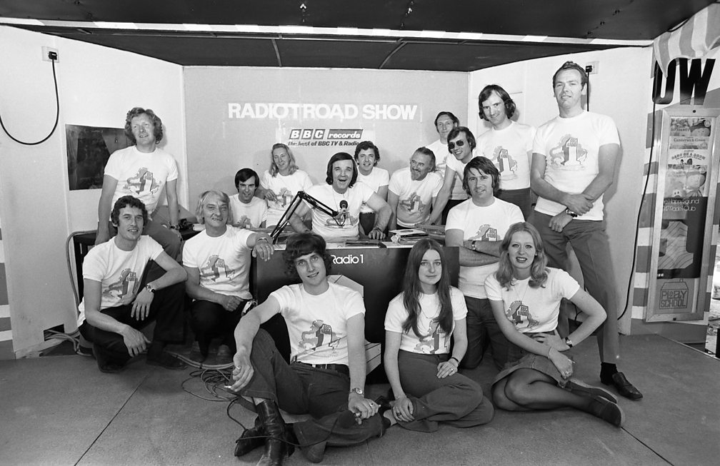 Members of the Radio 1 Road Show production team in Bristol, 1972. Included in the shot is Roy Tempest, arms crossed, kneeling down