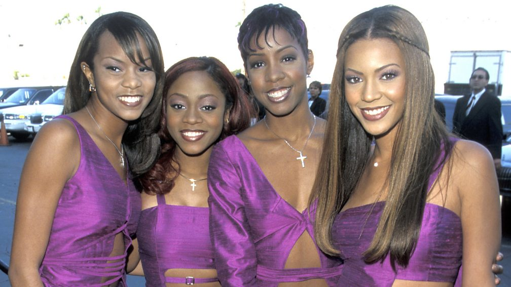 Destiny's Child with LeToya Luckett (far left) and LaTavia Roberson (second left)