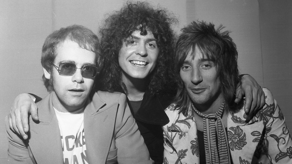 Marc Bolan with Elton John and Rod Stewart, Top of the Pops, 1972