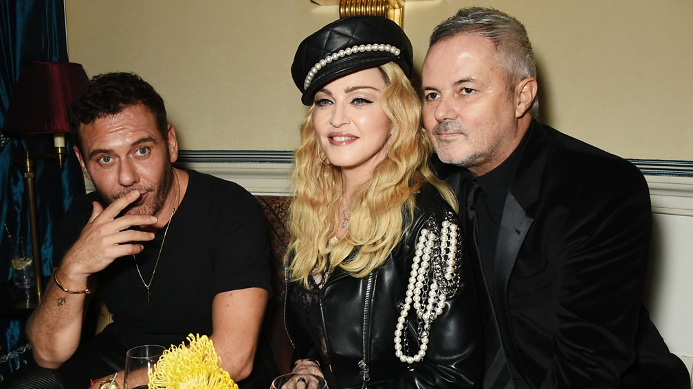 (L-R) Fashion photographer Mert Alaş, Madonna and Nellee Hooper in 2016