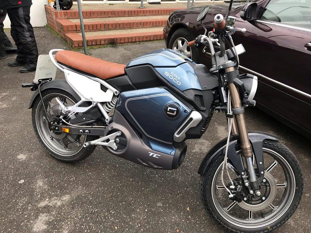 A Super Soco TC Electric Motorcycle at the ACE Cafe