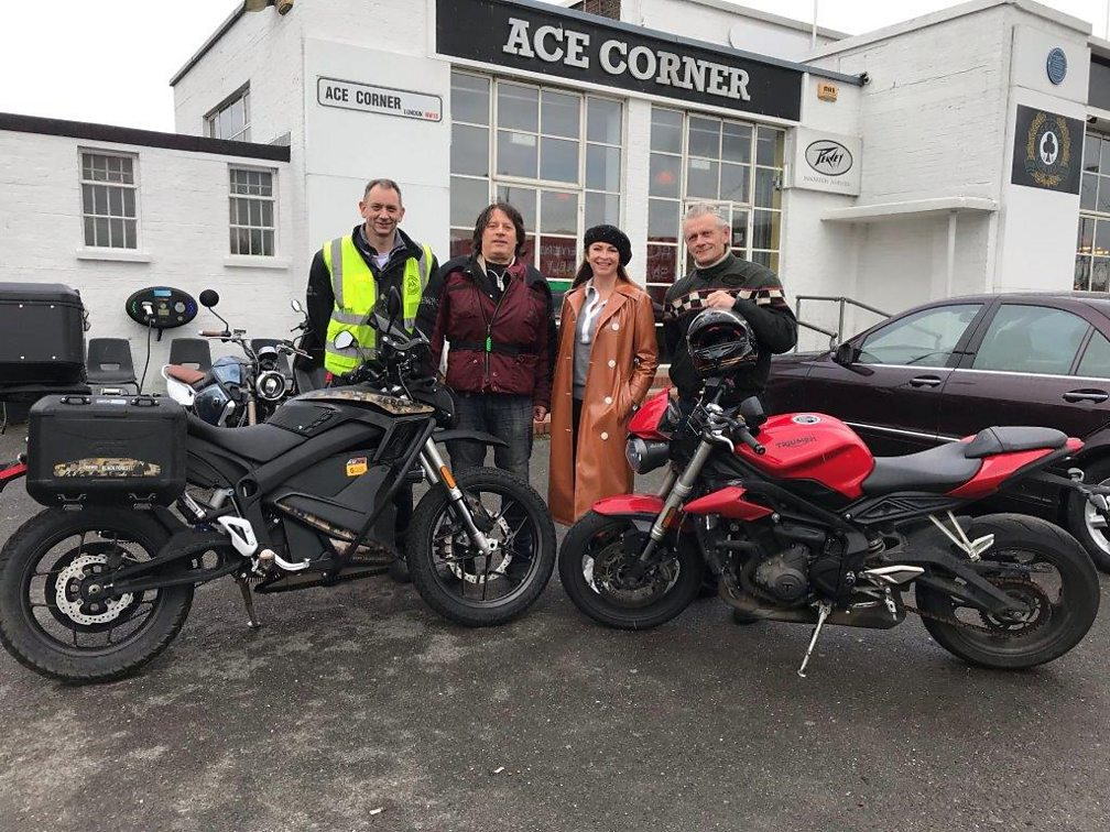 Suzi Perry with the BBC 5 Live interviewees at the Ace Cafe