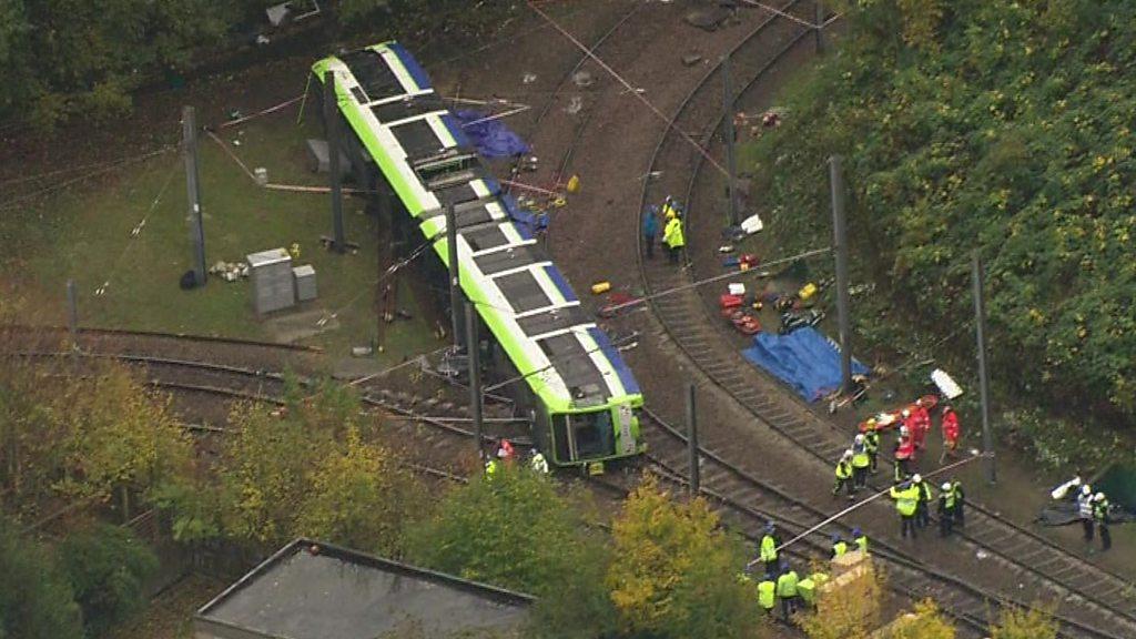 Derailed tram