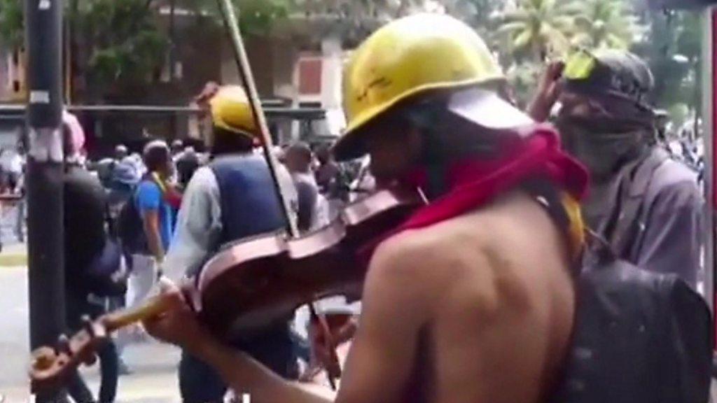Venezuelan violinist Wuilly Arteaga hurt in protest