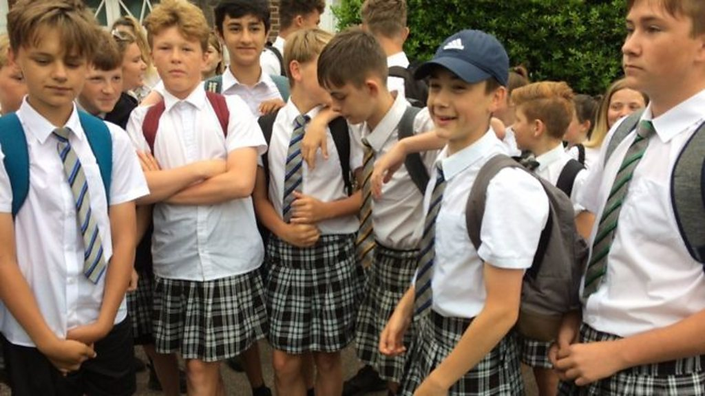 Boys at Exeter academy wear skirts in uniform protest