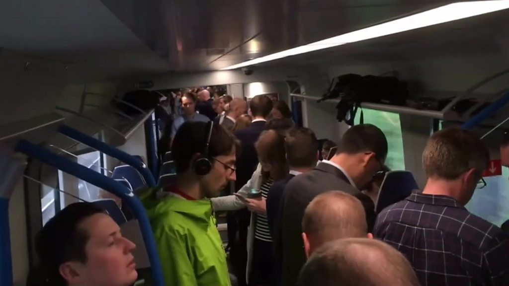 Woman getting on a train