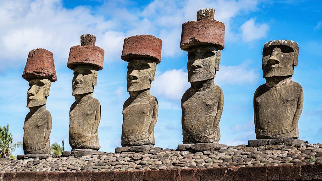 Easter Island Moai Head Stone Statue in Lamp Black