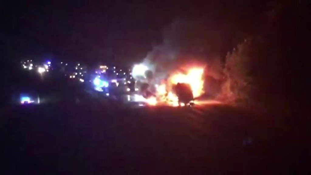 Lorry crash and fire shuts motorway
