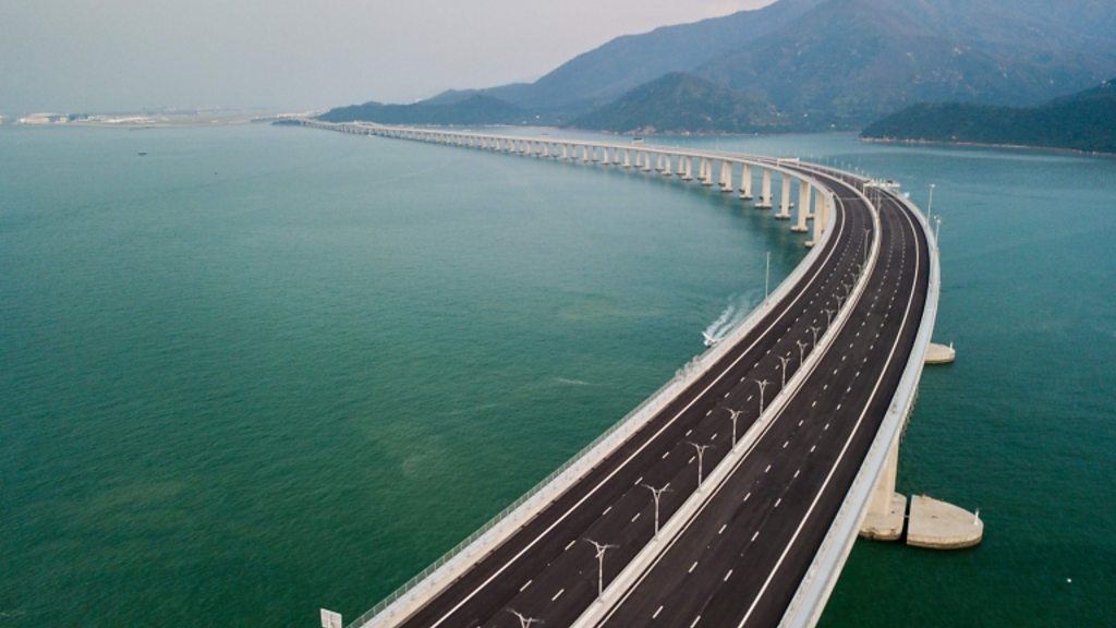 Flying over the world's longest sea bridge