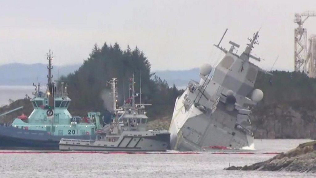 Helge Ingstad: Norway's warship collides with tanker in fjord