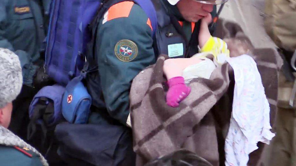 Baby found alive in rubble of Russia blast