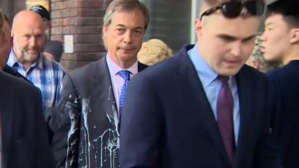Milkshake thrown at Nigel Farage