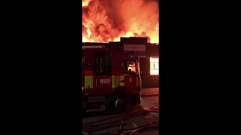 Huge fire breaks out at industrial site