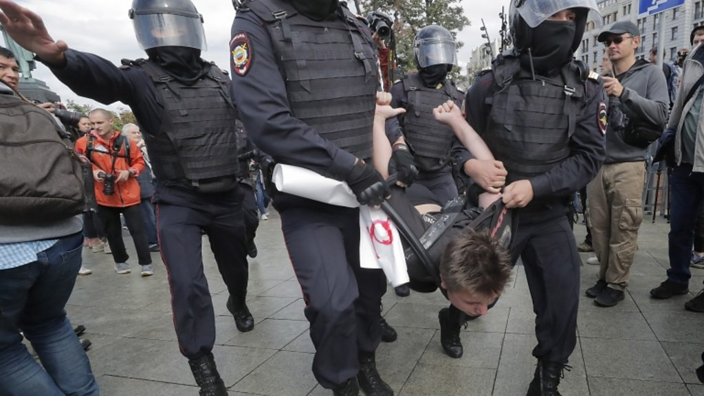 Russia protests: hundreds detained during the unauthorized demonstration