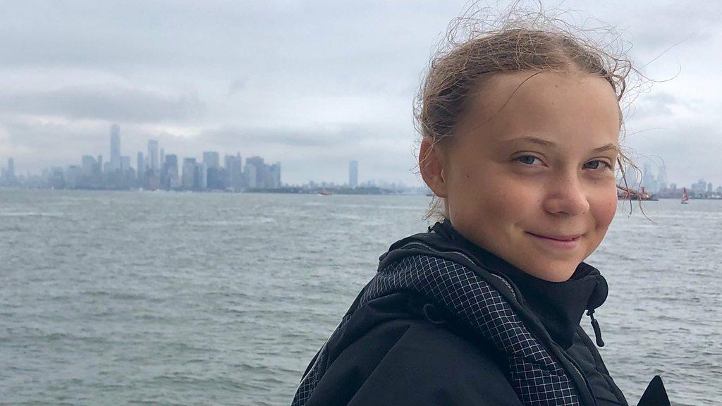 Greta Thunberg, climate change activist, sails into New York City