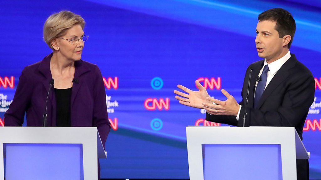 Democratic front-runners are tested in TV debate