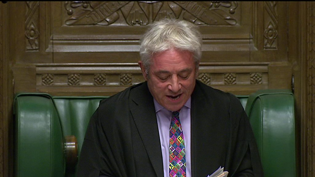 Brexit: MEPs to vote on deal John Bercow ruled out of the Speaker