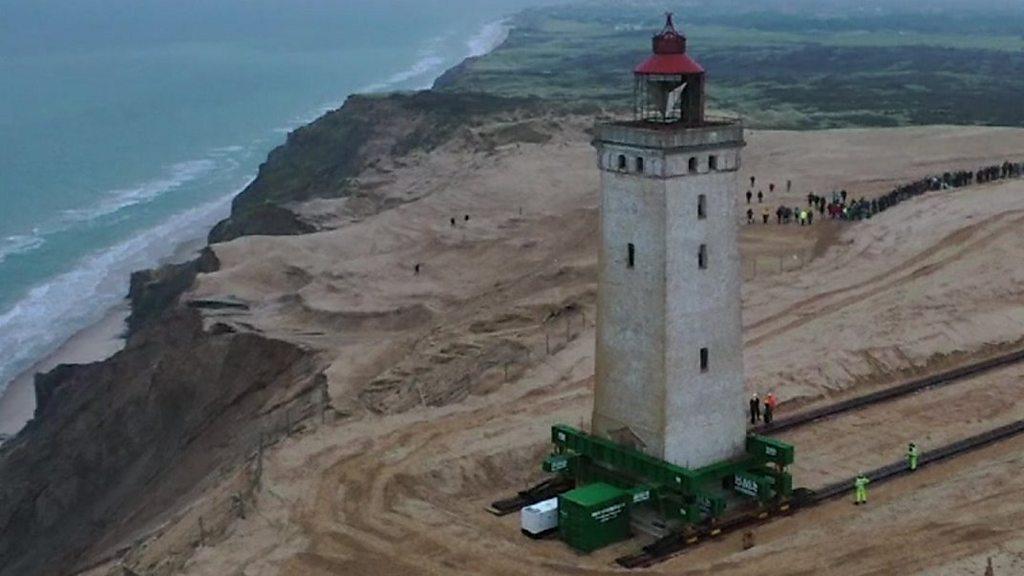 Danish Rubjerg lighthouse moved inland on skates