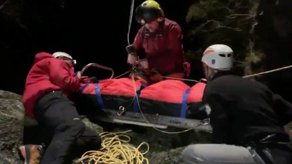 Boy, 10, scrambles 300ft down mountain to help mum