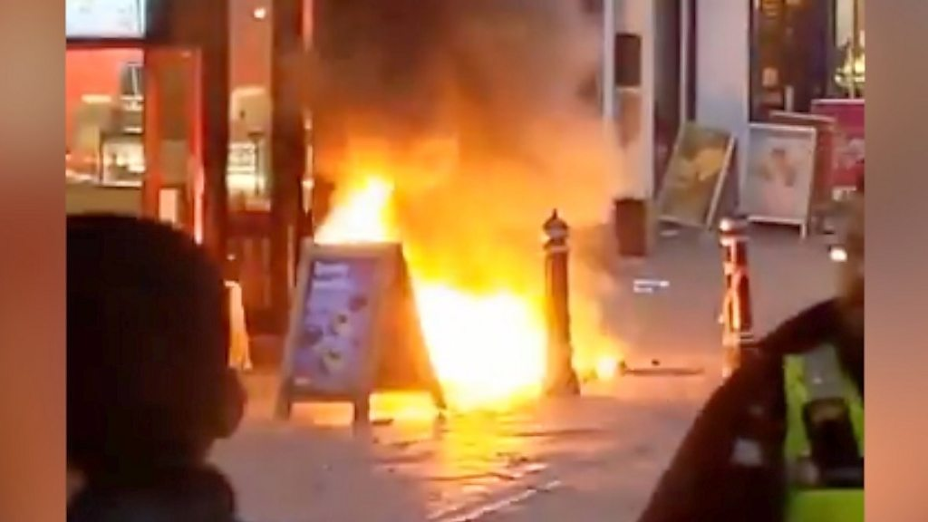 Underground fire rises above New Street in Birmingham