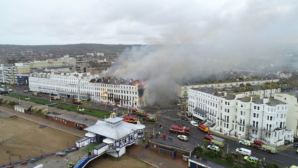 Eastbourne fire: Claremont Hotel  engulfed in flames