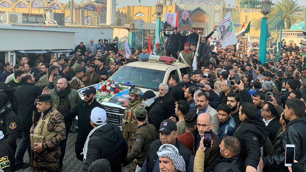 Qasem Soleimani: Mourners gather in Baghdad for funeral
