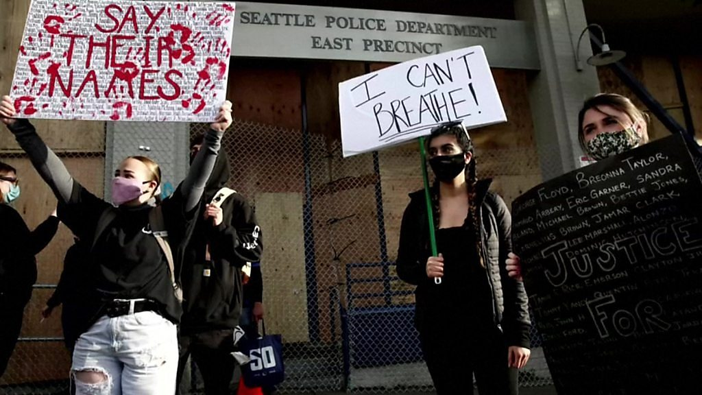 George Floyd Trump Told To Back Off Seattle S Chaz Police Free Zone Bbc News